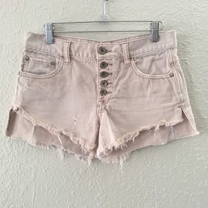 Free People Pale Pink Distress Distress Shorts 24